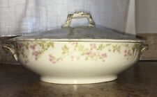 Limoges Oval Covered Casserole Serving Dish Pink Flowers with Gold Handles