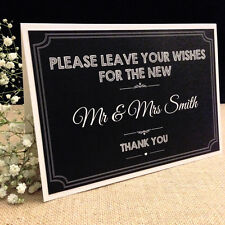 PERSONALISED CHALKBOARD STYLE VINTAGE WEDDING GUEST BOOK / WISH TREE CARD SIGN