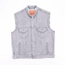 LEVI'S Grey Grandad Collar Sleeveless Denim Jacket Mens Size Large