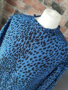 NEW LOOK ROYAL BLUE BLACK LEOPARD ANIMAL PRINT SKATER DRESS SIZE 14