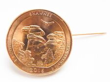 24 kt Gold Plated Illinois Quarter featuring Shawnee National Forest as a Brooch