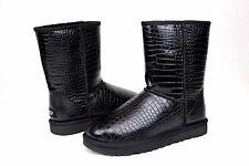 Ugg Classic Short Croco Black Glossy Leather Women Boot Size 7 US