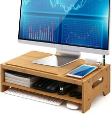 Bamboo Monitor Stand Riser for Desktop Organizer Wood 2 Tiers Computer Stand