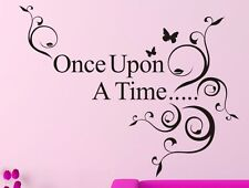 ONCE UPON A TIME Wall Decal Words Lettering Sticker Decor Saying Art