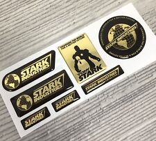 Iron Man Stark Industries Tony GOLD Chrome 3d domed emblem decal stickers