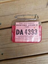 1978 Resident Ohio Hunting & Trapping License Back Tag .Free Shipping!