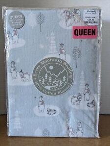 Berry Mountain Bedding 100% Cotton Flannel Queen Sheet Set Polar Bear Racoon
