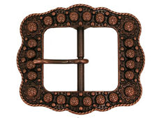 Western Cowboy Decor Center Bar Berry Buckle Antique Copper Plated 1""