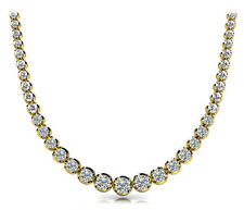 5.80 carat Round cut Diamond Graduated Tennis Necklace 14K Yellow Gold VS2/SI1