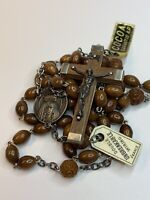 † NWT BLESSED GIFTED VINTAGE LOURDES PILGRIMAGE WOOD ROSARY BUY LUCITE ROSARY †