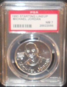 PSA 7 NM 7 - Michael Jordan 1991 Kenner Starting Lineup Coins Chicago Bulls
