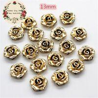 50pcs 13mm cute gold resin rose flower flatback cabochon diy decorative craft sc