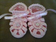 Handmade Hand Crocheted Baby Girl Booties/Sandals Pink 0-3 months