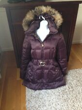 Laundry by Shelli Segal~Faux-Fur-Trim Belted Puffer Coat~size Large