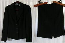 Hillard & Hanson Stretch Skirt Suit 10 Jacket 8 Black Striped