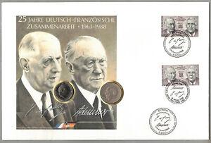 Numisbrief - 25 Jahre Deutsch-Französische Zusammenarbeit - 2 DM + 1 Franc