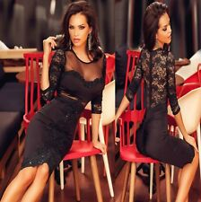 Sz S 8 10 Black Lace 3/4 Sleeve Beads Formal Cocktail Party Slim Fit Midi Dress