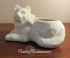 Shawnee Pottery Figural Cat with Bow Planter White or Light Yellow Matt Glazed