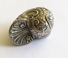 Antique Vintage 900 Silver Snuff Box, Fancy Shell Shaped