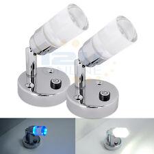 2* 12V LED Reading Light RV Caravan Motorhome Interior Bedside Wall Book Lamps