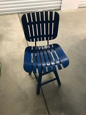 Vintage Swivel Chair Wood Slat BLUE