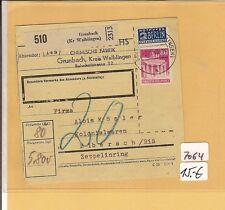 Bizone / GRUNBACH (Kr Waiblingen), Paketkarte 1949 m. EF 94, blau m. 20 taxiert