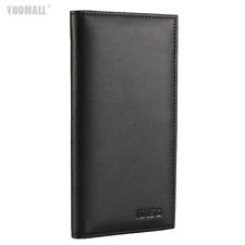 Checkbook Leather Bifold Long Wallet Card Holder Purse Clutch Billfold Black New