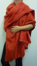 Warm Snug Yak Wool Style Nepalese Himalayan Blanket/Large Shawl: Orange & Red