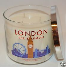 NEW BATH & BODY WORKS LONDON TEA LEMON SUGAR SCENTED CANDLE 3 WICK 14.5 OZ LARGE
