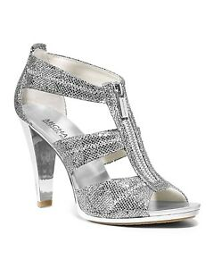 Michael KORS BERKLEY SILVER GOLD GLITTER LOGO ZIPPER SANDAL WEDDING I LOVE SHOES