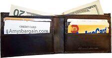 New Thin Men's Leather Wallet 6 Credit ATM card slots 2 Billfolds wallet piel bn