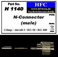 1 Stück N-Stecker (Crimp) für Aircell 5 / RG 58 Koaxkabel 50 Ω (H1140)
