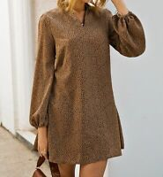 V Neck Bishop Sleeve Long Sleeve Elegant Short Tunic Dress Casual