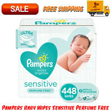 Pampers Baby Wipes Sensitive Perfume Free 7X Refill Packs 448 Ct Hypoallergenic