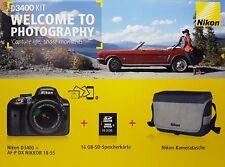 Nikon D3400 KIT CÁMARA REFLEX con lente 18-55mm y Packete Accesorios - NUEVO