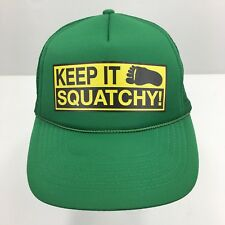 Keep It Squatchy Truckers Hat Sasquatch Ball Cap Kelly Green