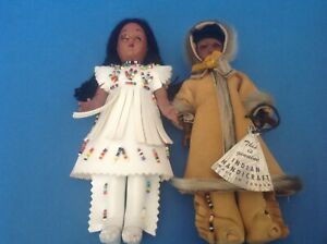 Vintage Sleepy Eye Native American / Canadian handicraft Dolls