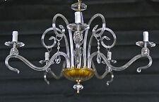 CLASSICO LAMPADARIO LAMPADA CON 5 LUCI LED CRISTALLO PENDENTI MADE ITALY ART.C4