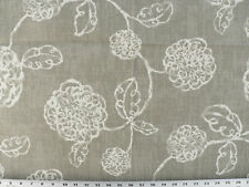 Drapery Upholstery Fabric Contemporary Cotton Floral - Ivory on Gray-Taupe