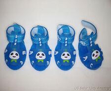 4pcs Blue Soft Comfortable Cartoon Rubber Sandal Shoes Size #4 Pet Dog Puppy Cat