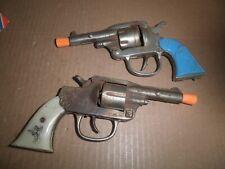 "TWO Neat old original cast iron ""Six Shooter"" Cap Guns by Kilgore c.1938 & 1940"