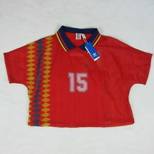 Adidas Spain Layered Soccer Shirt Red Yellow CY0681 Womens Large $90