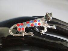Antike Brosche-Silber-emailliert-Katze-Panther