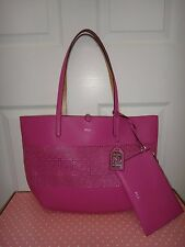 RALPH LAUREN Women's RLL Littlebury REVERSIBLE Tote Bag Rose Pink Gold Wristlet