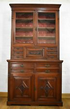 Antique carved Victorian secretaire bookcase display cabinet / cupboard