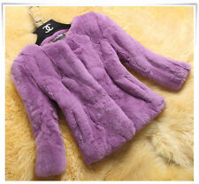 Women Furry Fluffy Coat Rex Rabbit Fur Cardigan Luxury Warm Jacket Black/White