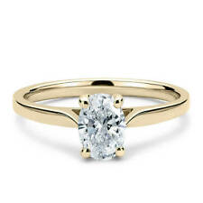 Moissanite 4 Prong Solitaire Engagement Ring 14K Yellow Gold 1.35 Carat Oval Cut