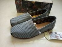 TOMS Gray Movember Stripe Wool Womens Classics Shoes