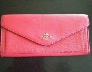 Coach Coral Leather Envelope Purse/Wallet