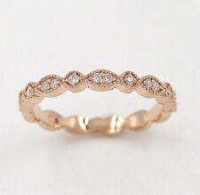 Half Eternity Art Deco Diamond Wedding Ring.14K Solid Gold Dainty Matching Band.